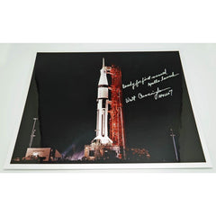 WALT CUNNINGHAM SIGNED 16'' X 13'' LAUNCH GLOSSY ANNOTATED