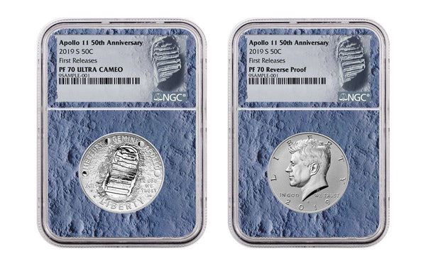 Apollo 11 50th Anniversary Half Dollar & Kennedy Half Dollar 2-Piece Set NGC PF70 First Releases - Moon Core with Mission Patch - The Space Store