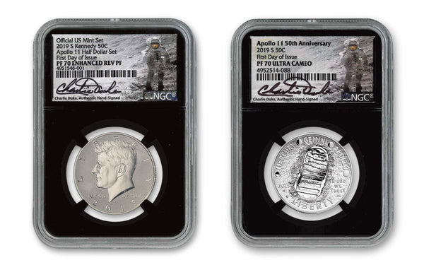 2019 50th Anniversary Apollo 11-Kennedy Half Dollar 2-pc Set NGC PF70 First Day of Issue w/Black Core & Charlie Duke Signature - The Space Store