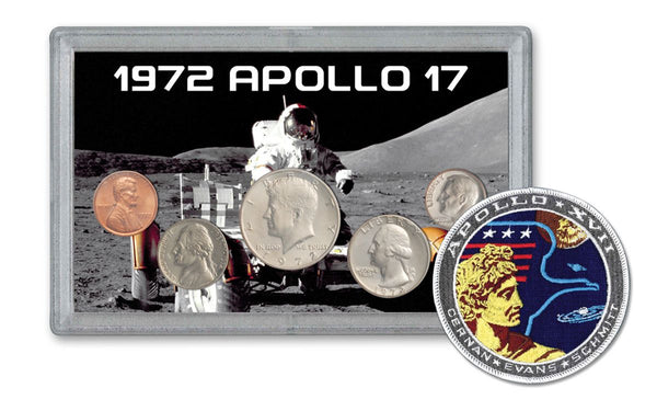 1972 Apollo 17 Last Moon Mission 5-pc Tribute Set BU w/Mission Patch - The Space Store