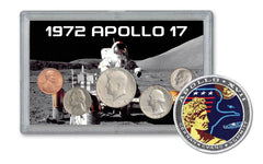 1972 Apollo 17 Last Moon Mission 5-pc Tribute Set BU w/Mission Patch