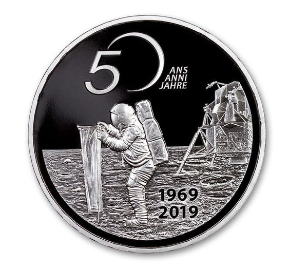 2019 Switzerland 20 Francs 20-gm Silver Apollo 11 50th Anniversary Proof - The Space Store
