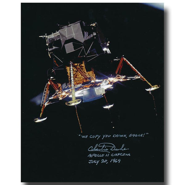 "Apollo 11 Lunar Module ""Eagle"" inscribed and handsigned by Charlie Duke - The Space Store"