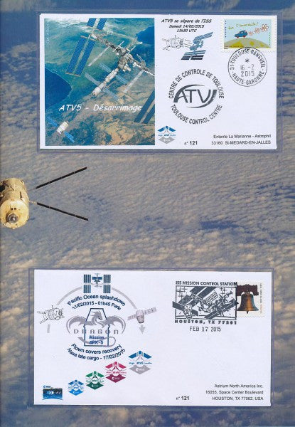 "ATV ""Georges Lemaitre"" + Dragon SPX-5 FLOWN cover - Airbus folder - The Space Store"