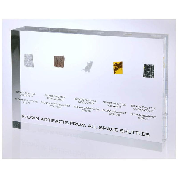 Acrylic Presentation with Flown-in-Space Artifacts from ALL Space Shuttles - Famed Presentation