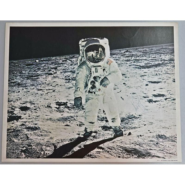 "NEIL ARMSTRONG SIGNED OVERSIZED 20X16 PRINT ""MAN ON THE MOON"""