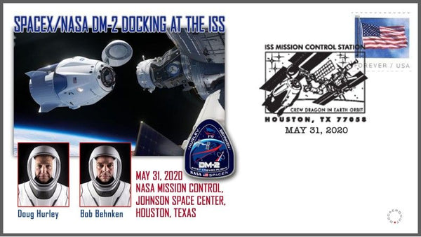 DM-2 docking cachet cover from ISS Mission Control, Houston