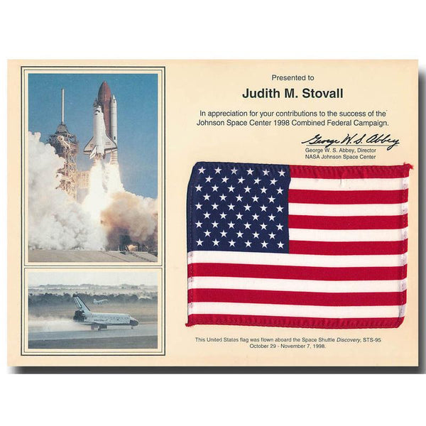 STS-95 JOHN GLENN FLOWN US FLAG