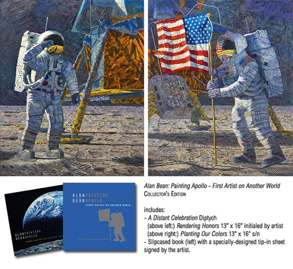 """A Distant Celebration"" 2, Giclee  13"" x 16 "" Paintings Diptych by Artist Alan Bean - The Space Store"