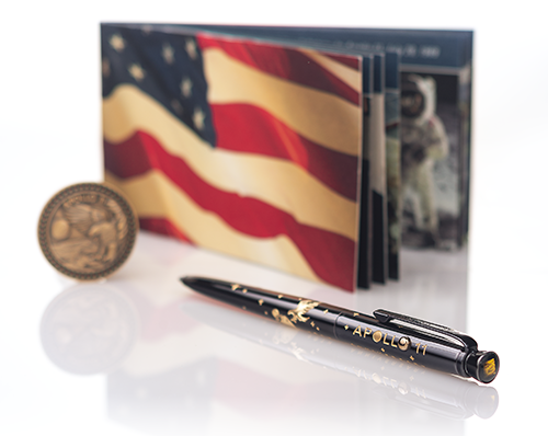 AG7-50LE – APOLLO 11 LIMITED EDITION 50TH ANNIVERSARY ASTRONAUT PEN & COIN SET WITH SPACE FLOWN MATERIAL - The Space Store