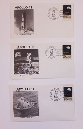 Apollo 11 Set of 3 Covers: Launch, Moon Landing, Recovery