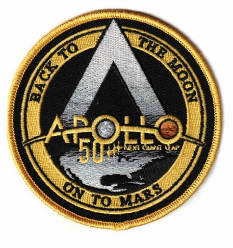 APOLLO 11 50th YEAR ANNIVERSARY 'BACK TO THE MOON, ON TO MARS' PATCH - The Space Store