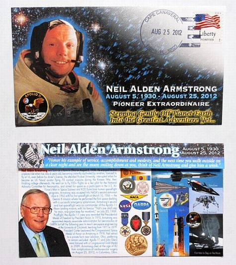 Neil Armstrong 'Pioneer Extraordinaire' Tribute Postmarked Envelope (Cover) - The Space Store