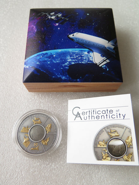 Cook Islands 2016, Space Shuttle with FLOWN material, 5 Dollar Coin - The Space Store