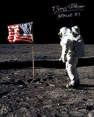 "Flag Salute' 16"" x 20"" Photo Signed by Buzz Aldrin"
