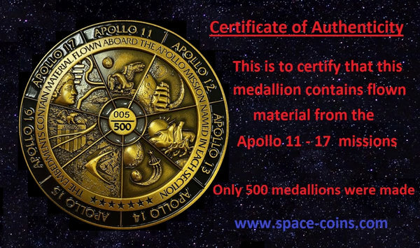 Apollo 11-17 medal with VISIBLE flown material from all 7 Apollo moon missions!