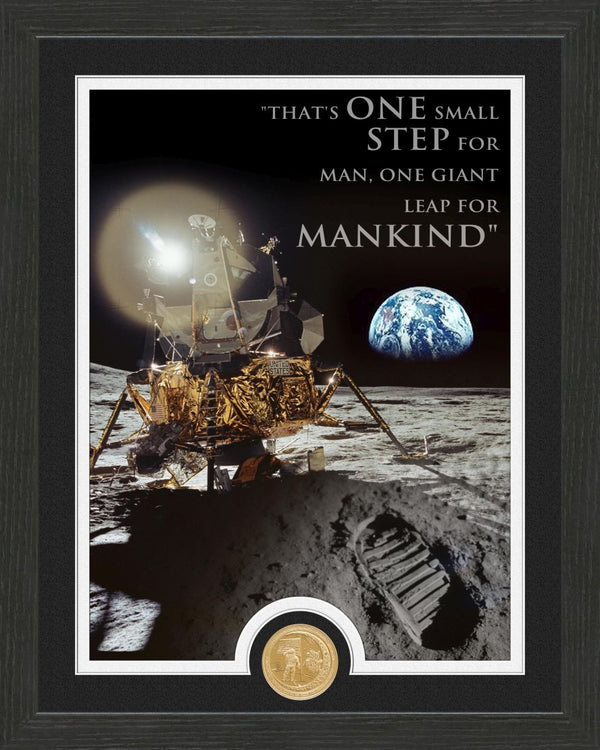 "Apollo Moon Landing ""Quote"" Bronze Coin Frame - The Space Store"