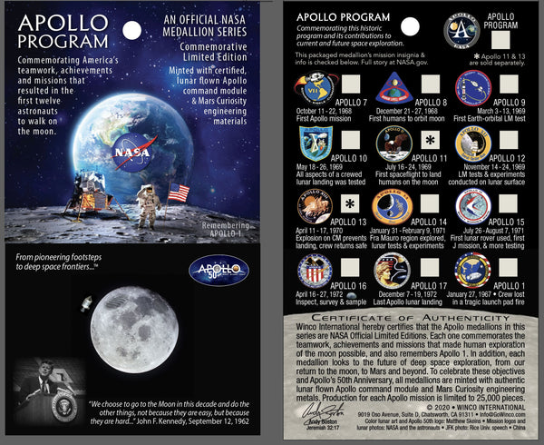 Apollo 50th Anniversary Programs Medallion - Winco