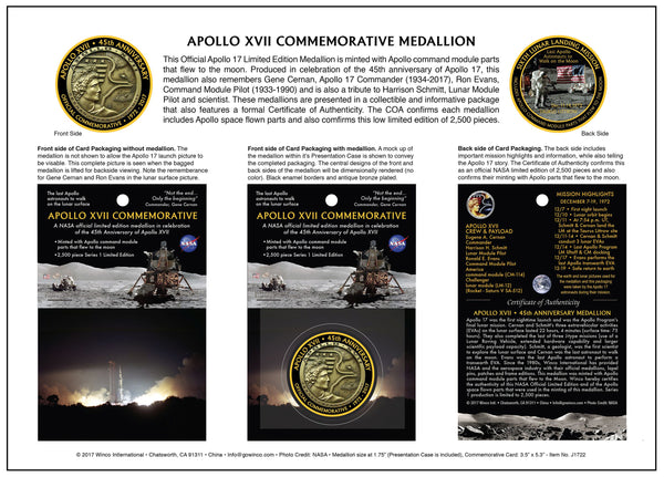 APOLLO XVII LIMITED EDITION MEDALLION - SERIES 1