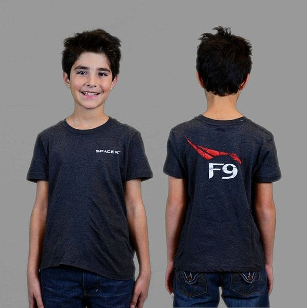 SpaceX Falcon 9 T-Shirt (Heather Gray) - Youth - The Space Store