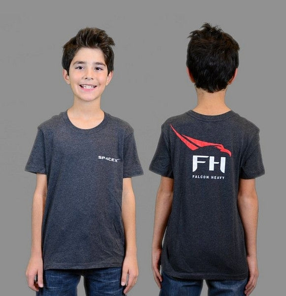 SpaceX Falcon Heavy T-Shirt (Heather Gray) - Youth - The Space Store