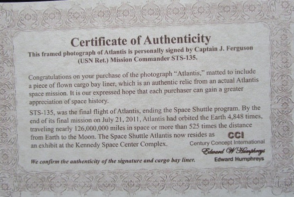Atlantis STS-135 Signed by Chris Ferguson w/ Relic - The Space Store