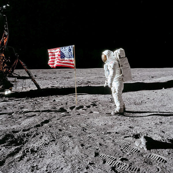 Buzz Aldrin. Apollo 11. Flag on the Moon. With signed and numbered card on back - The Space Store