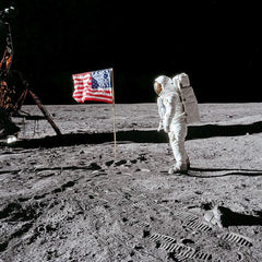 Buzz Aldrin. Apollo 11. Flag on the Moon. With signed and numbered card on back
