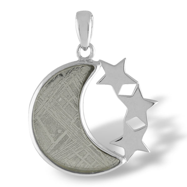 Moon Muonionalusta Meteorite Pendant with 3 Stars - includes silver chain and giftbox