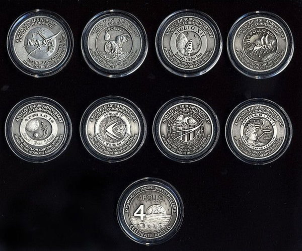 Apollo Medallion COMPLETE SET ALL 8! Medallion Collectors Set - The Space Store