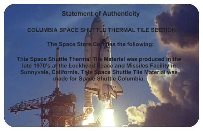 2-View Frame Limited Edition Columbia Space Shuttle Thermal Tile Presentation