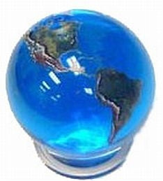 Crystal Earth Marble Sphere (Large) with Stand