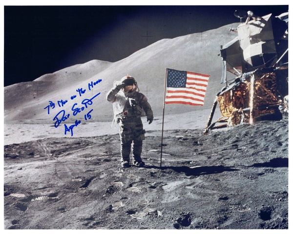 Apollo 15 Astronaut Dave Scott  signed 'Salute Flag Photo' - The Space Store