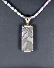 METEORITE PENDANT. BEAUTIFUL DAMASCUS STEEL PENDANT - METEORITE JEWELRY