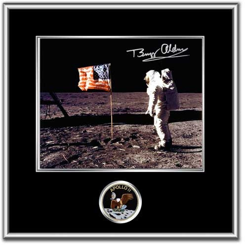 "Autographed & Framed 16"" x 20"" Photo Buzz Aldrin 'Flag' Black Matting - Photo"