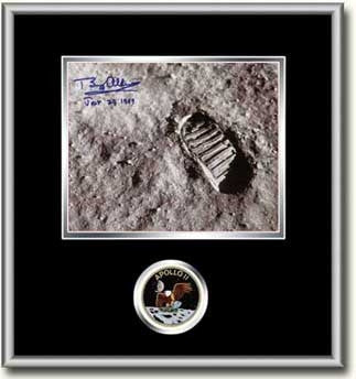 "Autographed & Framed 8"" x 10"" Photo Buzz Aldrin's Footprint (Black Matting) - Photo"