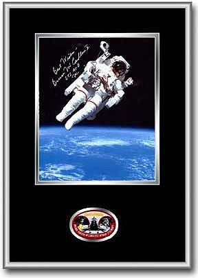 "Autographed & Framed 8"" x 10"" of Bruce McCandless (Black Matting) - Photo"