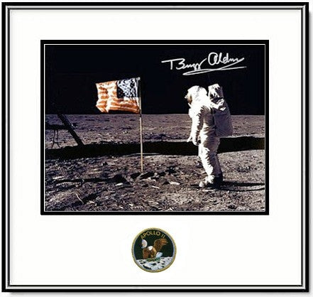 "Autographed & Framed 16"" x 20"" Buzz Aldrin with 'Flag' - Photo"