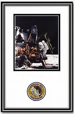 Autographed Framed 8 x 10 Photo - Alan Bean on Ladder