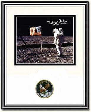 "Autographed & Framed 8"" x 10"" Photo of Buzz Aldrin 'Flag' - Photo"