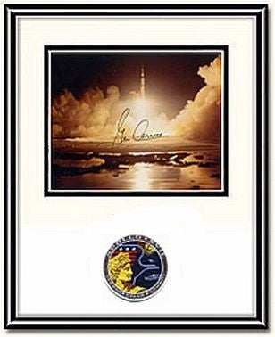 "Autographed & Framed 8"" x 10"" Photo of Gene Cernan Night Launch"