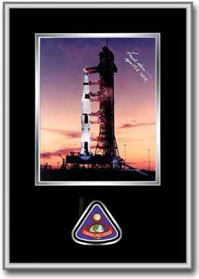 "Frank Borman 'Apollo Dawn'  8"" x 10"" Autographed, Framed Photo (black mat) - The Space Store"