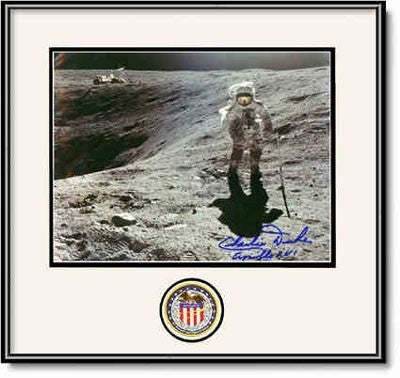 "Autographed & Framed 16"" x 20"" Photo of Charlie Duke at Plum Crater - Photo"