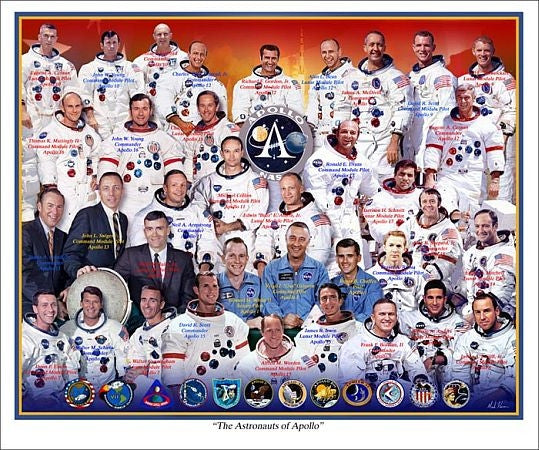 """The Astronauts of Apollo"" -  Giclee Print in 11"" x 14"" or 20"" x 24"" - The Space Store"