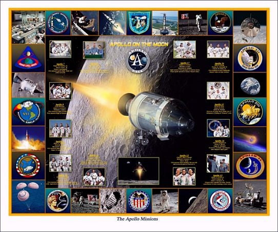"""The Apollo Missions"" -  Giclee Print in 11"" x 14"" or 20"" x 24"" - The Space Store"