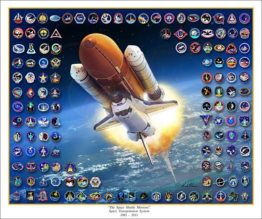 """The Space Shuttle Missions"" - Giclee Print  11"" x 14"" or 20"" x 24"""