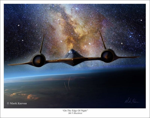 "SR-71 Blackbird   ""On The Edge Of Night""  Giclee Print  11 x 14 or 16 x 24 - The Space Store"