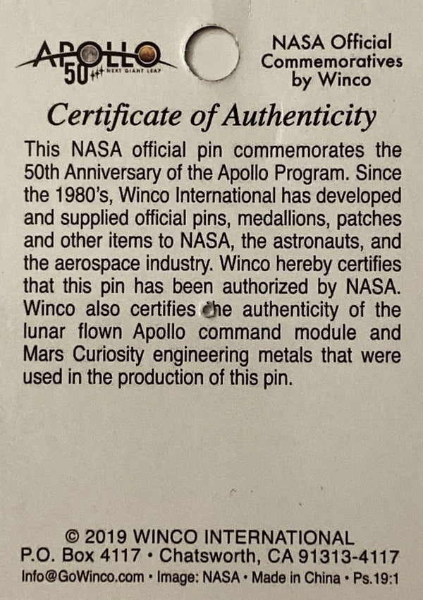 APOLLO 50th ANNIVERSARY 'NEXT GIANT LEAP' LAPEL PIN