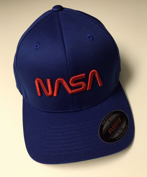 NASA Worm Logo Flexfit  Structured Twill Cap with 'Puffy' Style Logo! - The Space Store
