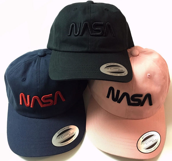 NASA Worm Logo Unstructured Classic Dad Cap, with 'Puffy' Style Logo